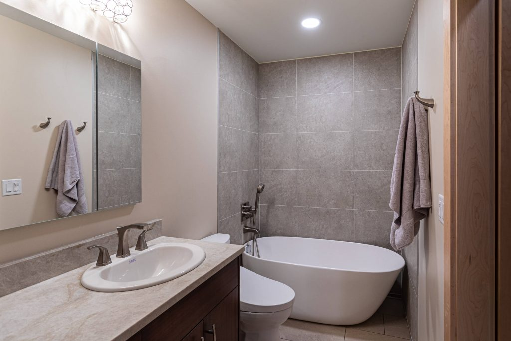 Sandy Bathroom Remodeler with Vanity Counter Top