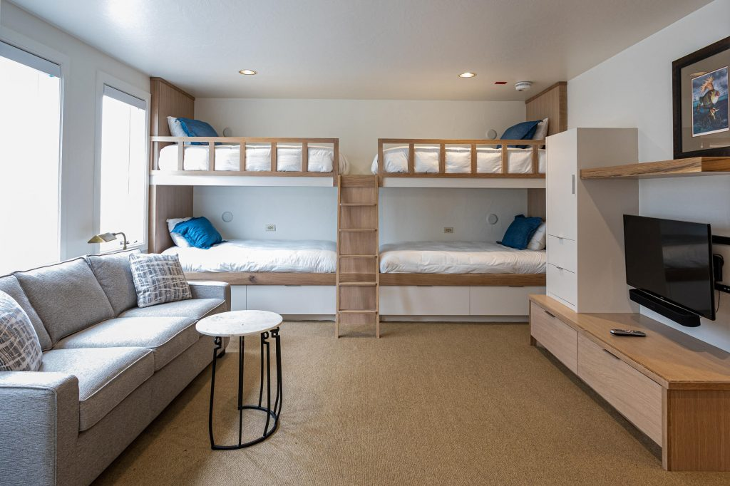 Park City Condo Bedroom Remodel with modern Bunk Beds